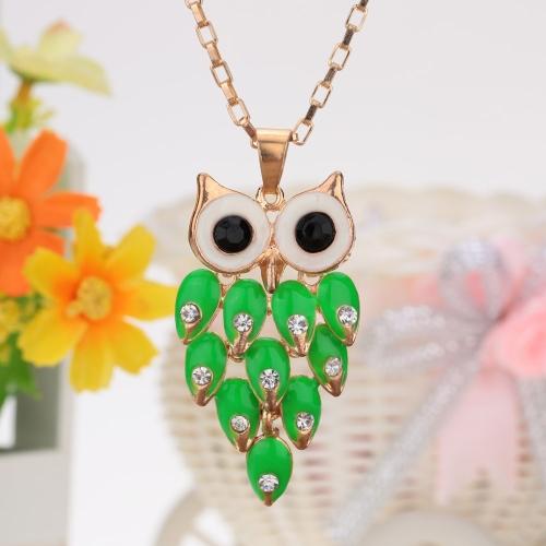 Vintage retrô verde Cristal strass pena oca coruja pingente colar camisola cadeia liga metálica pássaro bijuterias para menina mulher