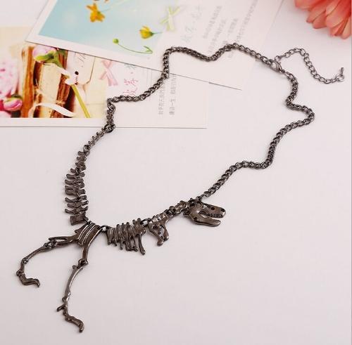 Joyería del fashional Cool Retro Vintage Animal dinosaurio esqueleto calavera colgante cadena brillante collar para chicas mujeres