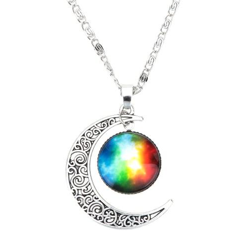 Nueva moda joyería Retro hueco luna colgante cadena de plata cabujón galaxia collar de media luna para mujeres niñas