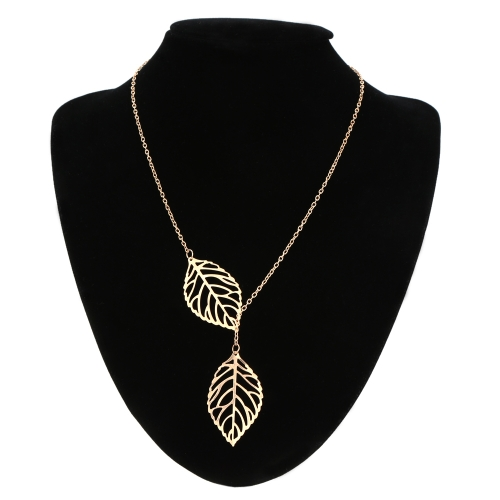 Elegant Alloy Silver Hollow Double Leaf Pendant Women's Necklace for Wedding Party