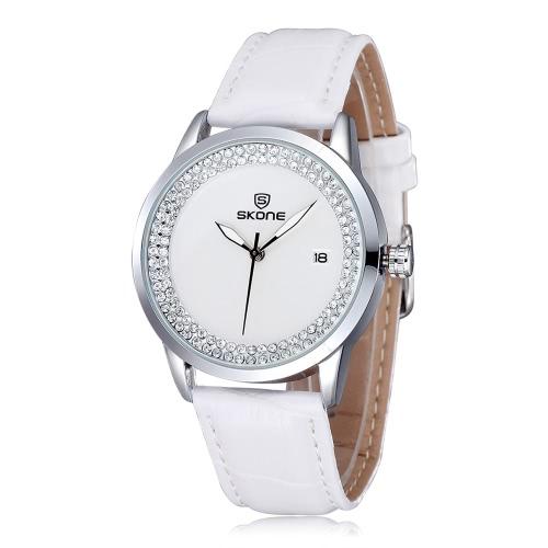 SKONE moda luxo Diamond Rhinestone relógio de pulso Quartz Water-resistant mulheres vestem-relógio com data