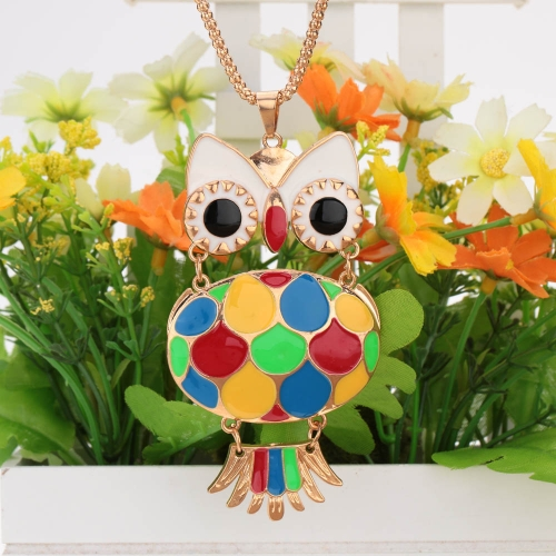 Fashion Vintage Retro Colorful Enamel Owl Pendant Necklace Costume Sweater Chain Metal Alloy Bird Animal Jewelry for Woman Girl