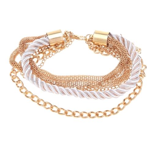 Fashional nueva decoración de joyería cuerda pulsera seis colores para niñas de las mujeres