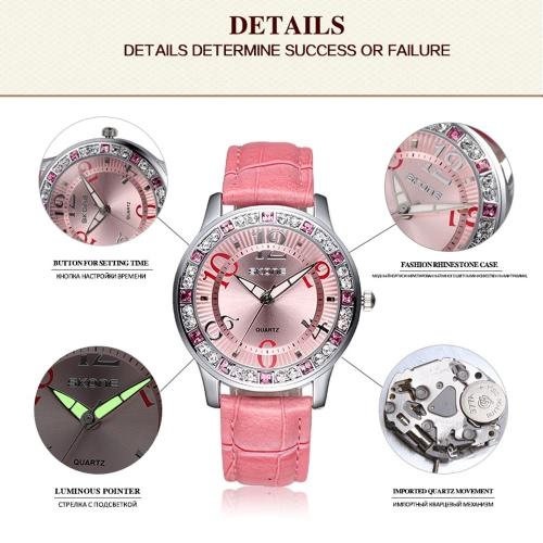 Vintage High Quality Fashion Quartz Wristwatch Bling-bling Rhinestone Embedded Women Elegant Watch