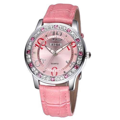Vintage Wysokiej Jakości Kwarcowy zegarek na rękę Bling-bling Rhinestone Osadzone kobiety Elegancki zegarek