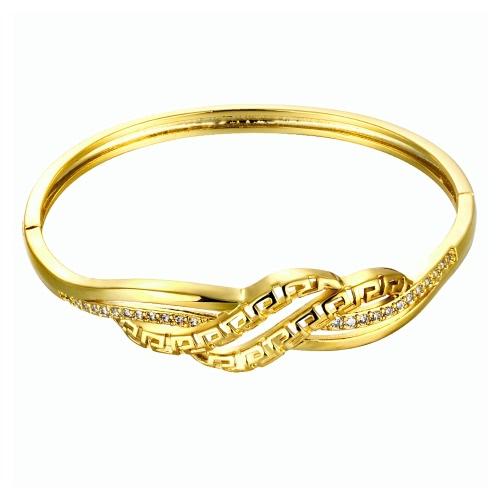 Pulseira de bronze incorporado com Zircon AAA com uma abertura & acenou ocas linhas Golden & Golden Rose Fashional acessórios para mulheres