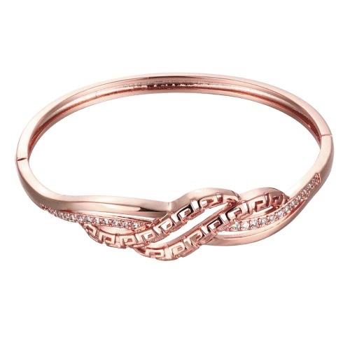 Pulseras de latón encajado con circones AAA con una abertura y agitado hueco líneas de oro y oro rosa accesorios del Fashional para las mujeres