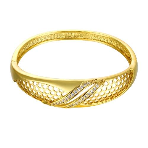 Messing-Armreif eingebettet mit AAA Zirkon mit einer Öffnung & Hexagon Netze Golden & Rose Golden Fashional Zubehör für Frauen