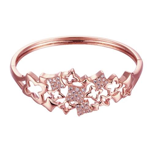 Pulseras de latón encajado con Zircon AAA hueco trébol de cuatro hojas con una apertura de oro y oro rosa accesorios del Fashional para mujeres