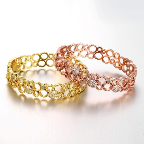 Hollow Brass Bangle Bracelet Embedded with AAA Zircon with An Opening Golden & Rose Golden Fashional Accessories for Women