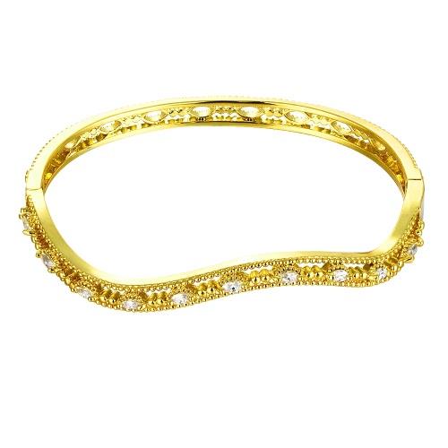 Schwungvoll hohlen Messing-Armreif eingebettet mit AAA Zirkon mit einer Öffnung Golden & Rose Golden Fashional Zubehör für Frauen