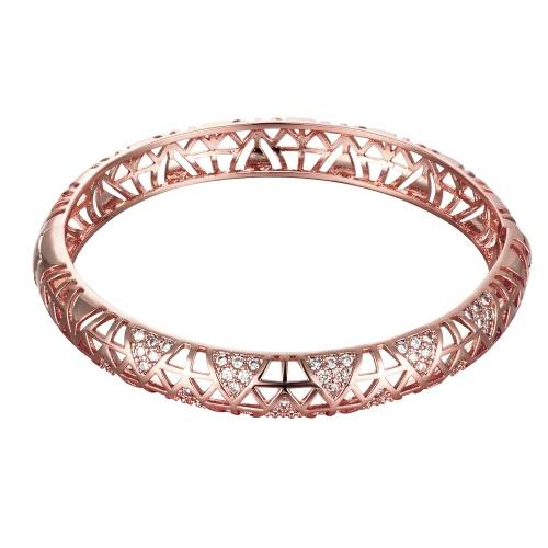 Pulseras de latón hueco triángulos integrados con Zircon AAA con una apertura de oro y oro rosa accesorios del Fashional para mujeres