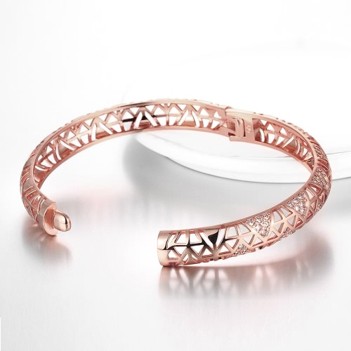 Hollow Triangles Brass Bangle Bracelet Embedded with AAA Zircon with An Opening Golden & Rose Golden Fashional Accessories for Women