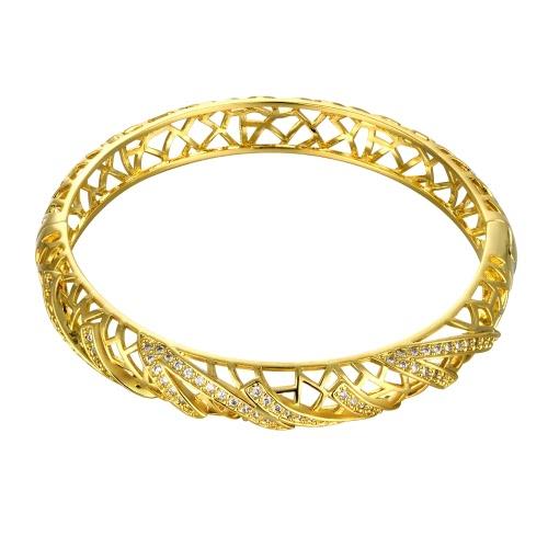 女性のためオープニング ゴールデン ・ ローズ ゴールデン Fashional アクセサリー AAA ジルコンが埋め込まれた中空ネット真鍮バングル ブレスレット