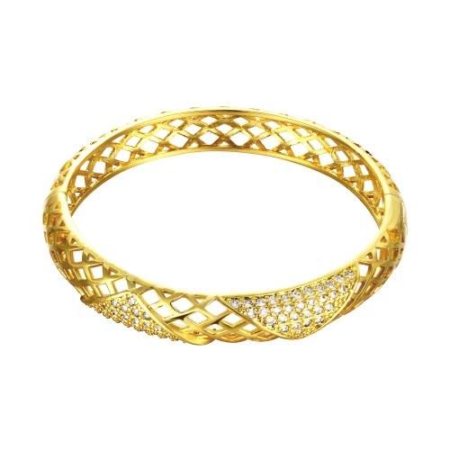 Redes oco pulseira de latão com Zircon AAA incorporado em triângulos com uma abertura dourada & Golden Rose acessórios Fashional para mulheres