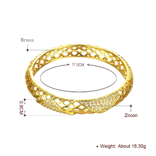 Hollow Nets Brass Bangle Bracelet with AAA Zircon Embedded in Triangles with An Opening Golden & Rose Golden Fashional Accessories for Women