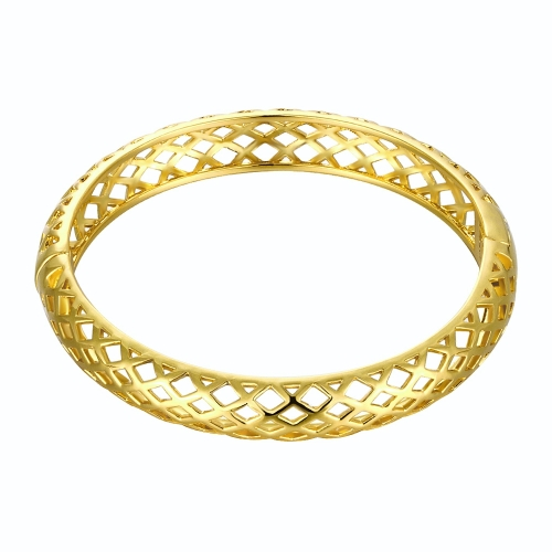 Hollow Nets Brass Bangle Bracelet with An Opening Golden & Rose Golden Fashional Accessories for Women