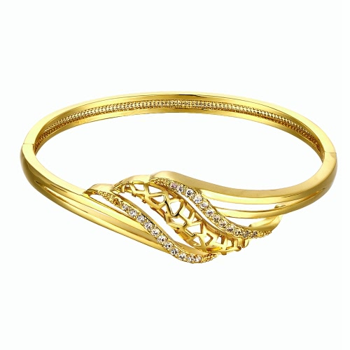 Brass Bangle Bracelet Embedded with AAA Zircon with An Opening & Hollow Leaves Golden & Rose Golden Fashional Accessories for Women