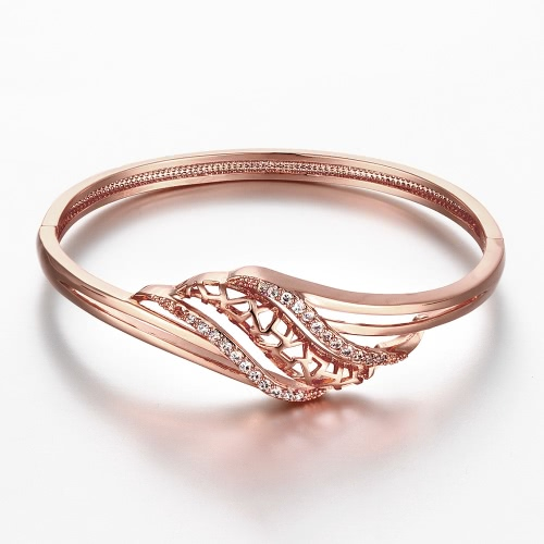 Tomtop coupon: Brass Bangle Bracelet Embedded with AAA Zircon with An Opening & Hollow Leaves Golden & Rose Golden Fashional Accessories for Women