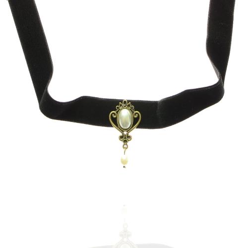 Girocollo vintage collana ciondolo perla artificiale striscia di velluto nero con catena estesa Fashional accessori per le donne