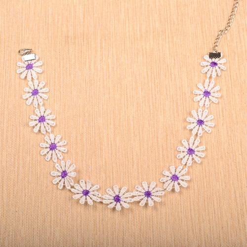 Dulce encaje blanco gargantilla collar Margarita linda flor con cadena extendida del Fashional accesorios para mujeres