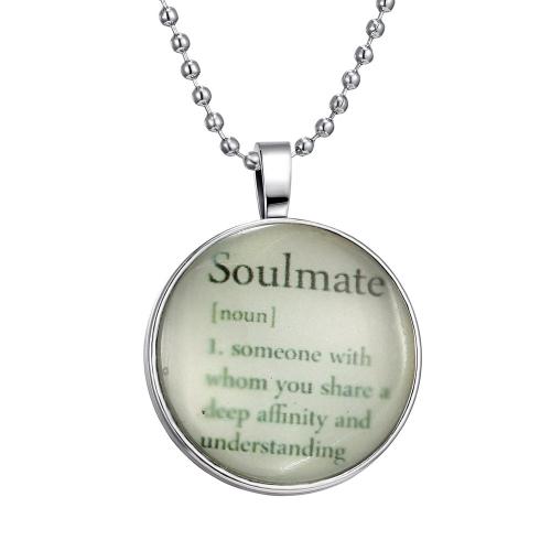 Brillante joyería noctilucentes inglés palabras brillante colgante redonda cúpula cabujón cadena Retro collar para mujer