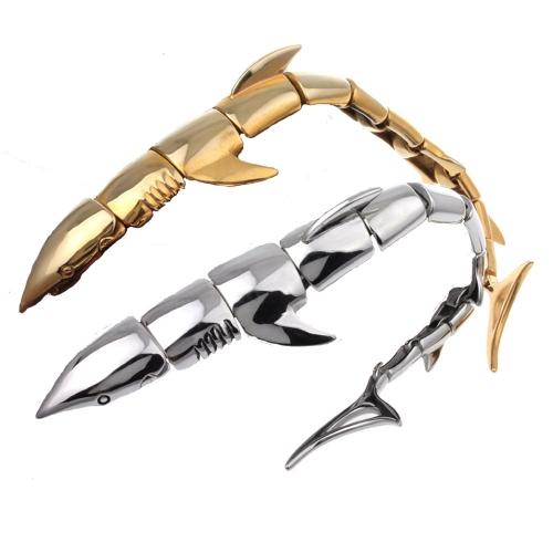 Punk Rock Style Men's Individual Shark Bracelet 316L Titanium Steel Polished Fashional Ornaments