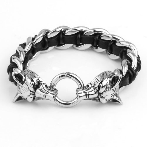 Punk Rock Men's Wolf Head Bracelet Hand-woven Cow Leather 316L Titanium Steel Polished Fashional Ornaments