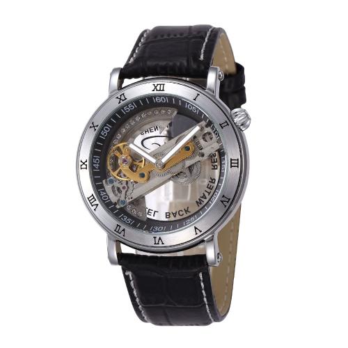 SHENHUA einzigartige transparente Skelett Automatik mechanische weichem Leder Armbänder Analog Unisex Armbanduhr