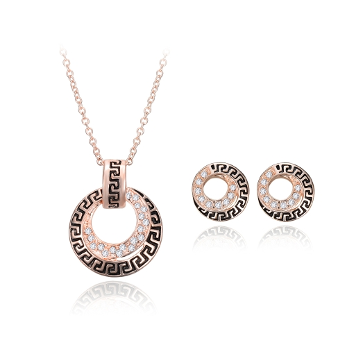 Kristall Schmuck Set Ring Form Anhänger Halskette & Ohrstecker Zink Legierung & Strass Rose Golden Fashional Zubehör für Frauen