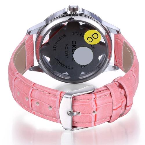 Fashion Shining Rhinestone Embedded Beautiful Flower Watch Soft PU Leather Watchband Analog Women Wristwatch