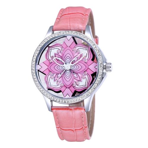 Incrustado de diamantes de imitación brillantes de moda flor hermosa reloj PU suave cuero reloj mujer analógico reloj de pulsera