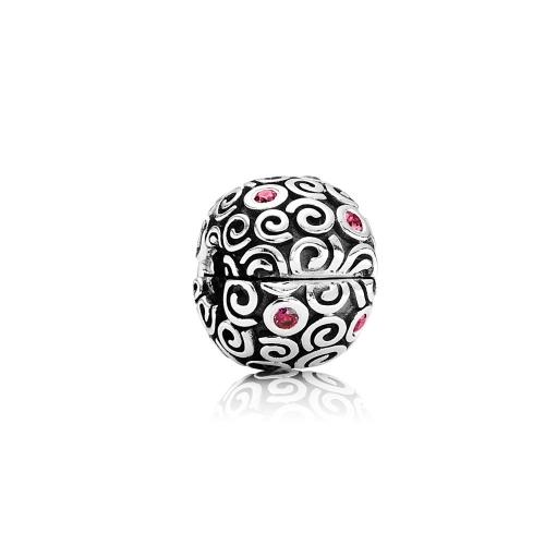 Romacci S925 plata Clip grano con nube patrón CZ diamante para mujeres DIY joyería de la pulsera de 3mm encanto europeo
