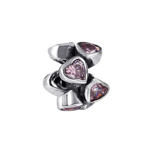 Romacci rosado diamante CZ corazones grano S925 plata para pulsera europea las mujeres DIY joyería