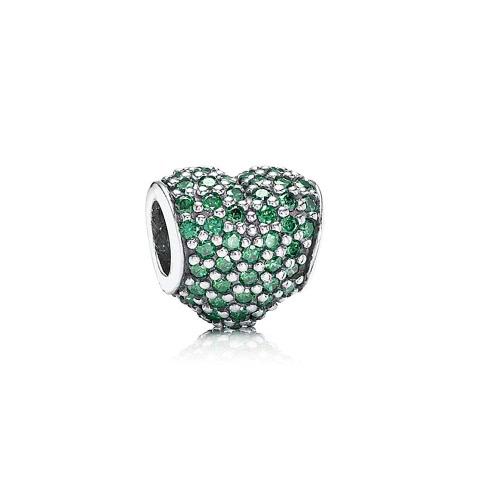 Grano en forma de corazón Romacci CZ diamante S925 plata para pulsera europea las mujeres DIY joyería