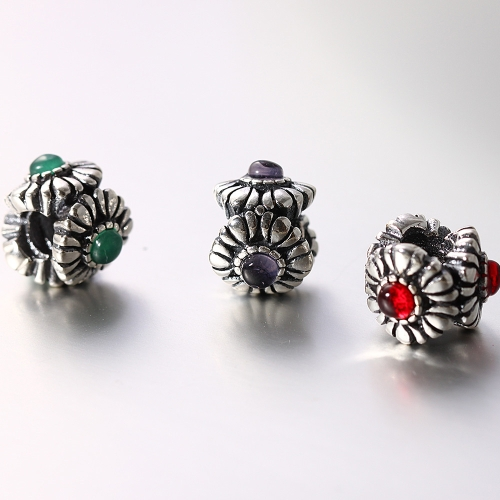 Romacci Sunflower Charm with CZ Diamond Beads S925 Sterling Silver for European Bracelet DIY Women Jewelry