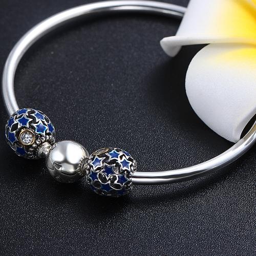Romacci Blue Star Enameled Bead CZ Diamond S925 Sterling Silver for European Charm Bracelet DIY Women Jewelry