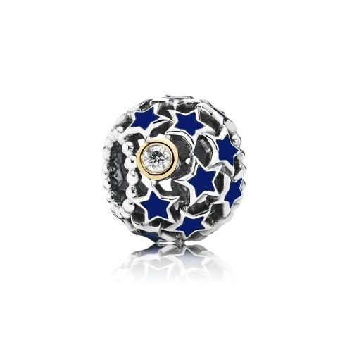 Romacci azul estrella esmaltada perla diamante CZ S925 plata para pulsera europea las mujeres DIY joyería