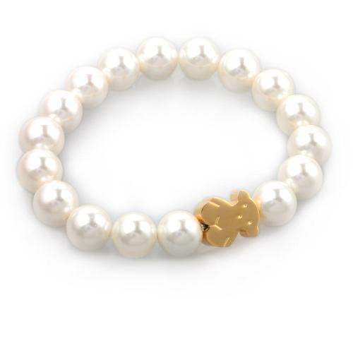 Little Bear Künstliche Perle Armband 316L Titan Stahl Vakuumierung Trendy Frauen Schmuck Dekorationen 16 cm