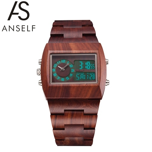 Second Hand Anself Men Dual Time Environmental High Quality Analog-Digital Double Time Display Wooden Wristwatch Water Resistant Chic Luminous Watch with Calendar & Alarm