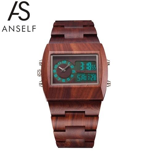 Second hand Anself Men Dual Time Environmental High Quality Analogico-Digitale doppio quadrante orologio da polso in legno Water Resistant Chic luminoso orologio con calendario e allarme