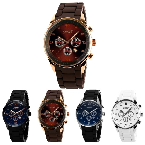 SKMEI 3ATM Water Resistant Analog Men Fashion Watch with 3 Decorated Sub-dial Wrist Watch with Alloy Silicone Watchband, TOMTOP  - buy with discount