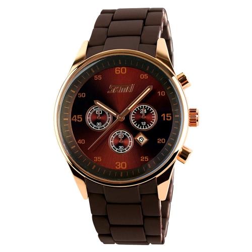 SKMEI 3ATM Wodoodporny zegarek analogowy moda męska z 3 Utrzymane Sub-pokrętło Wrist Watch stopem Silicone Watchband