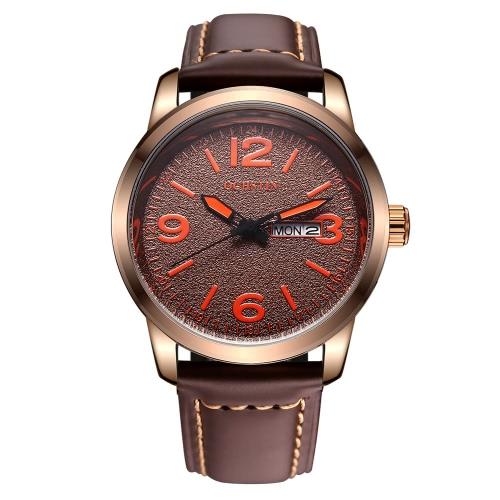 OCHSTIN correa de cuero genuina con estilo reloj de cuarzo resistente al agua 3 ATM Excelente Hombre Reloj de pulsera con calendario y la Semana