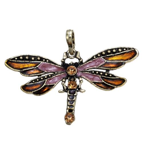 Nueva moda mujeres chica Vintage bronce galvanizado libélula colgante cadena collar antiguo de diamantes de imitación joyería accesorios regalo