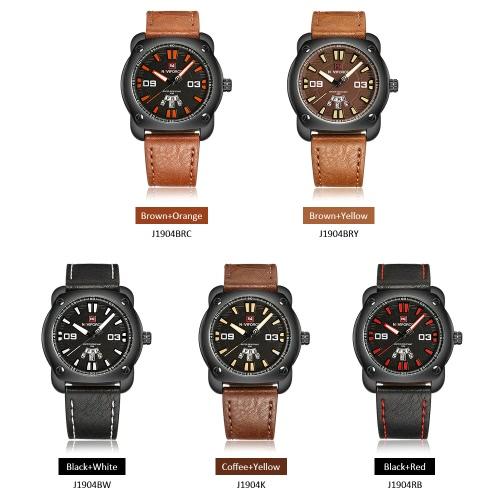 Image of NAVIFORCE Mann beiläufige Art und Weise Sports Armbanduhr-Uhr 3ATM Wasserdicht PU-lederner Bügel-Mann-Quarz-Armbanduhr mit Kalender-Funktion