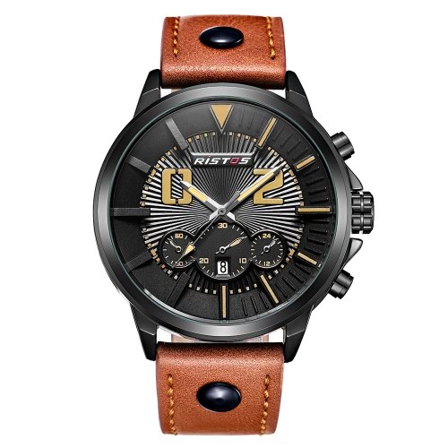 RISTOS Sport Watch Men Quartz Relógios 3ATM Water-resistant Wristwatch Masculino Calendário