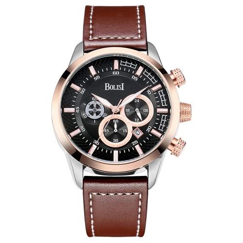 Bolisi moda casual reloj de cuarzo 3ATM hombres resistente al agua Relojes de cuero genuino reloj de pulsera masculino cronómetro calendario