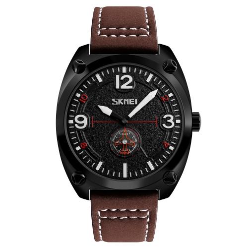SKMEI reloj de cuarzo casual de moda 3ATM reloj de pulsera de cuero genuino resistente a los hombres relojes de hombre