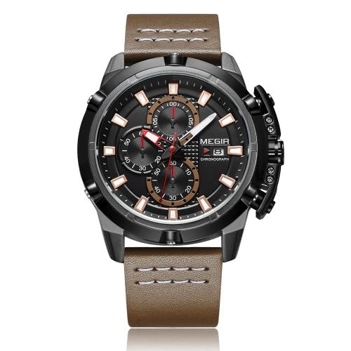 MEGIR Fashion Sport Men Relojes 3ATM Cuarzo resistente al agua Luminous Man Reloj Cronógrafo Calendario